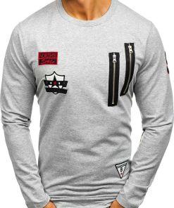 Bluza pentru barbat fara gluga cu imprimeu gri Bolf 0738