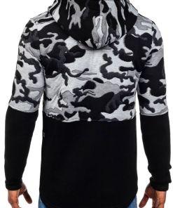 Bluza cu gluga pentru barbat neagra Bolf 9109