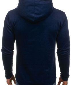 Bluza cu gluga si imprimeu pentru barbat bluemarin-inchis Bolf 9088