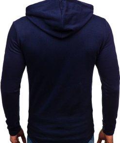 Bluza pentru barbat cu gluga si imprimeu bluemarin-inchis Bolf 9080