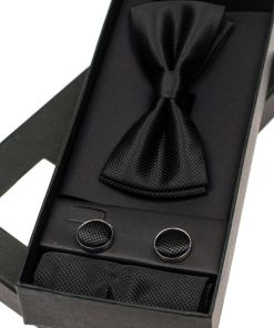 Set pentru barbat papion, butoni, batista neagra Bolf MSP01