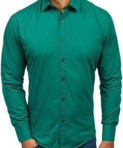 Camasa eleganta pentru barbat cu maneca lunga verde-inchis Bolf 1703