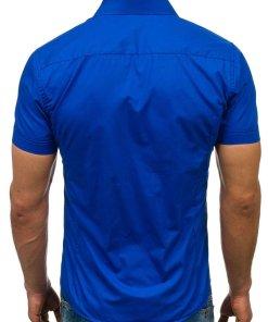 Camasa eleganta cu maneca scurta pentru barbat albastra Bolf 7501