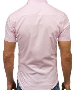 Camasa eleganta cu maneca scurta pentru barbat roz Bolf 7501