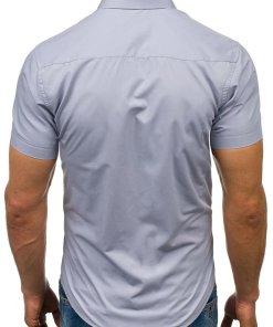 Camasa eleganta cu maneca scurta pentru barbat gri Bolf 7501