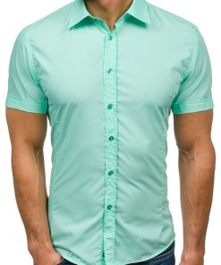 Camasa eleganta cu maneca scurta pentru barbat verde-menta Bolf 7501