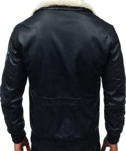 Geaca de piele pilot pentru barbat neagra Bolf 4794