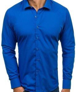 Camasa eleganta cu maneca lunga pentru barbat albastru-cobalt Bolf TS100