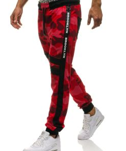 Pantaloni sportivi joggers pentru barbat camuflaj-rosii Bolf 0877