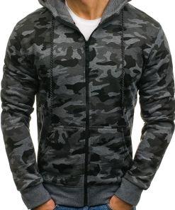 Bluza pentru barbat cu gluga si fermoar camuflaj-grafit Bolf DD129