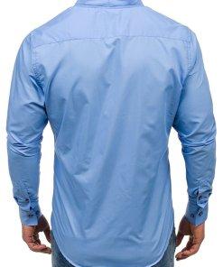 Camasa pentru barbat cu maneca lunga albastra-deschis Bolf 5720