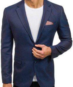 Sacou elegant pentru barbat albastru-maro Bolf 2222