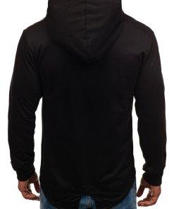 Bluza pentru barbat cu gluga si imprimeu neagra Bolf W1717