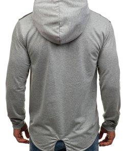 Bluza pentru barbat cu gluga si imprimeu gri Bolf W1717