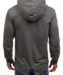 Bluza pentru barbat cu gluga si imprimeu grafit Bolf W1717