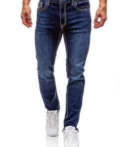 Jeansi pentru barbat bluemarin-portocalii Bolf 702