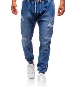 Jeansi baggy pentru barbat albastri Bolf 2045