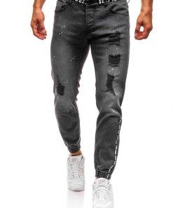 Jeansi joggers pentru barbat gri-deschis Bolf 2042