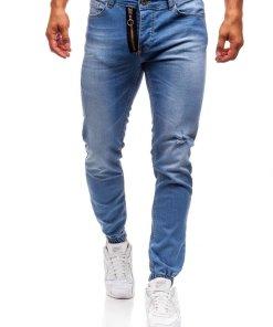 Jeansi joggers pentru barbat albastri Bolf 2043