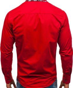 Camasa eleganta pentru barbat cu maneca lunga rosie Bolf 4704-1