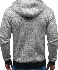 Bluza cu gluga si fermoar pentru barbat gri Bolf 33025