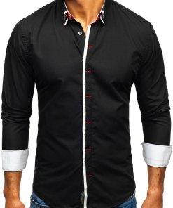 Camasa eleganta cu maneca lunga pentru barbat neagra Bolf 2767
