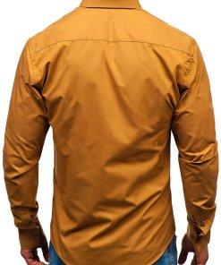 Camasa eleganta pentru barbat cu maneca lunga camel Bolf 3708