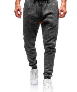 Pantaloni pentru barbati sportivi jogger gri-antracit-portocaliu Bolf Q3778