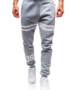 Pantaloni pentru barbati sportivi jogger gri Bolf Q3730
