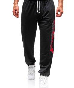 Pantaloni pentru barbati sportivi jogger negri Bolf Q3219