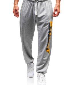 Pantaloni pentru barbati sportivi jogger gri Bolf Q3219