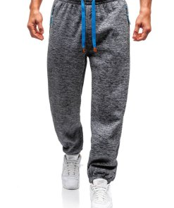 Pantaloni pentru barbati sportivi jogger gri-antracit-albastru Bolf Q3520