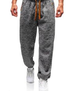 Pantaloni pentru barbati sportivi jogger gri-antracit-maro Bolf Q3520