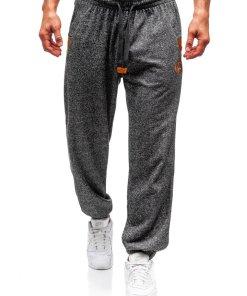 Pantaloni jogger sportivi pentru barbati negri Bolf Q3471