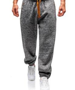 Pantaloni jogger sportivi pentru barbati gri-antracit-maro Bolf Q3521