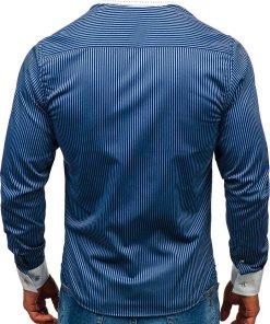 Camasa eleganta in dungi barbati bleumarin Bolf 4784-A