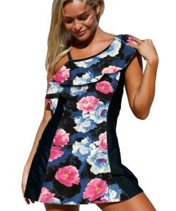SW1420-141 Costum de baie intreg stil rochita cu model floral