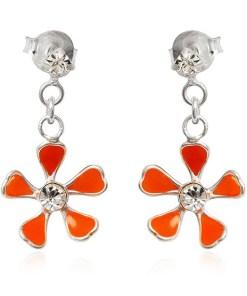 Bijuterii eshop - Cercei argint - floare portocalie pe lantisor T20.4