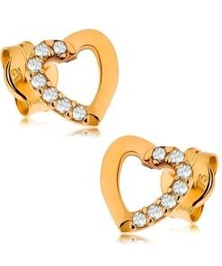 Bijuterii eshop - Cercei din aur 375 - contur de inima cu jum?tate cu zirconii transparente GG42.03