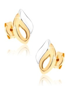 Bijuterii eshop - Cercei din aur 375 - contur îndoit în forma de lacrim? si unduit, în doua cusori GG36.08