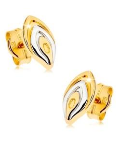 Bijuterii eshop - Cercei din aur 375 cu surub - petal? de floare în doua cusori, suprafata placata cu rodiu GG43.01