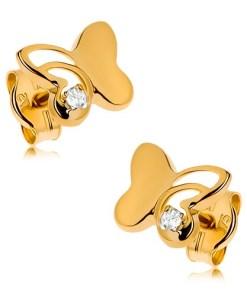 Bijuterii eshop - Cercei din aur 375 - fluture lucios cu parte gravata, zirconiu rotundatransparent GG42.08