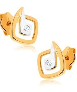 Bijuterii eshop - Cercei din aur 375 placata cu rodiu - p?trate neregulate în doua cusori, zirconii GG41.07