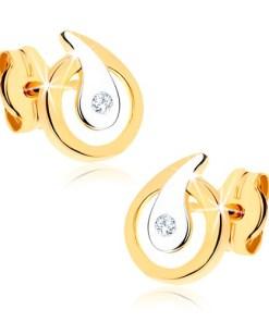 Bijuterii eshop - Cercei din aur 9K - contur de lacrim? cu zirconiu transparent stralucitor, doua cusori GG41.06