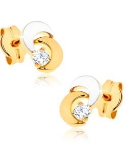 Bijuterii eshop - Cercei din aur 9K - doua luni, piatra transparent? stralucitoare, placata cu rodiu GG40.02