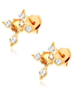 Bijuterii eshop - Cercei din aur galban 9K - cruce cu brate cu zirconii transparente, citrin galban GG62.24