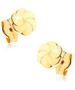 Bijuterii eshop - Cercei din aur galban 9K - flori stralucitoare cu petale gravata GG38.01
