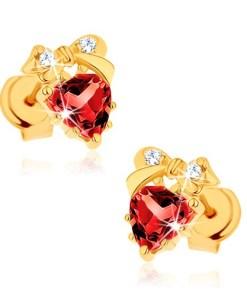 Bijuterii eshop - Cercei din aur galban 9K - inima rosie din granat, fundi??, zirconii transparente GG62.06