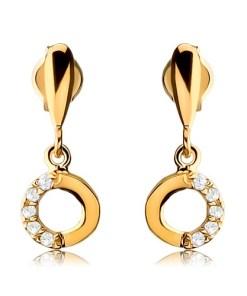Bijuterii eshop - Cercei din aur galban 9K - lacrim? alungita cu cerc atârnat, zirconii transparente GG43.10