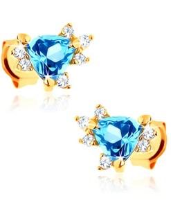 Bijuterii eshop - Cercei din aur galban 9K - topaz triunghiularaalbastru, zirconii mici transparente GG61.21